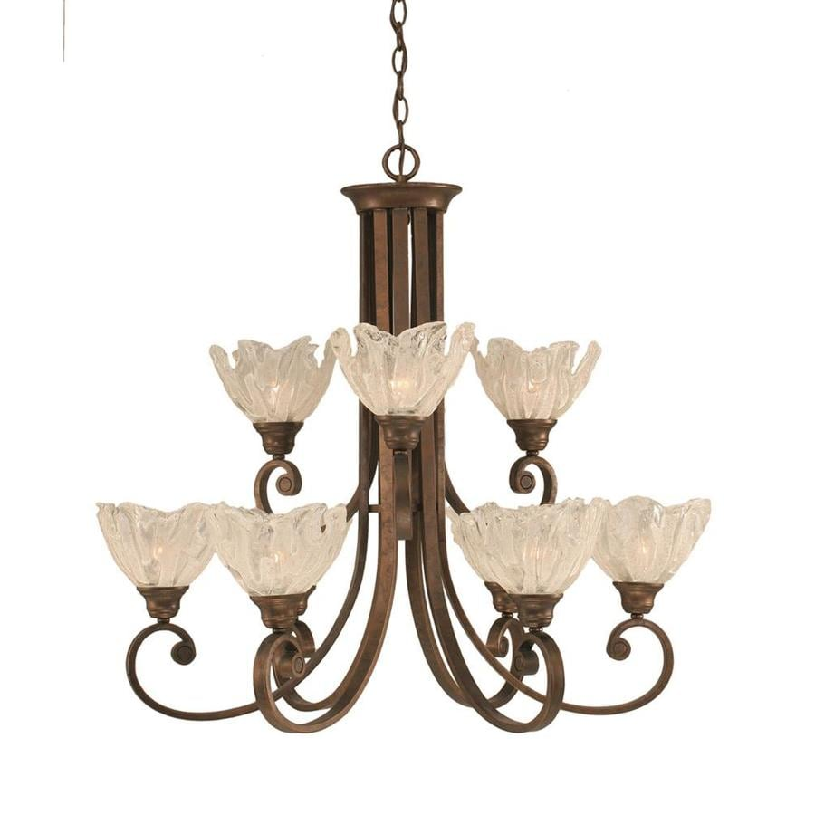 Divina 31-in 9-Light Bronze Tinted Glass Tiered Chandelier