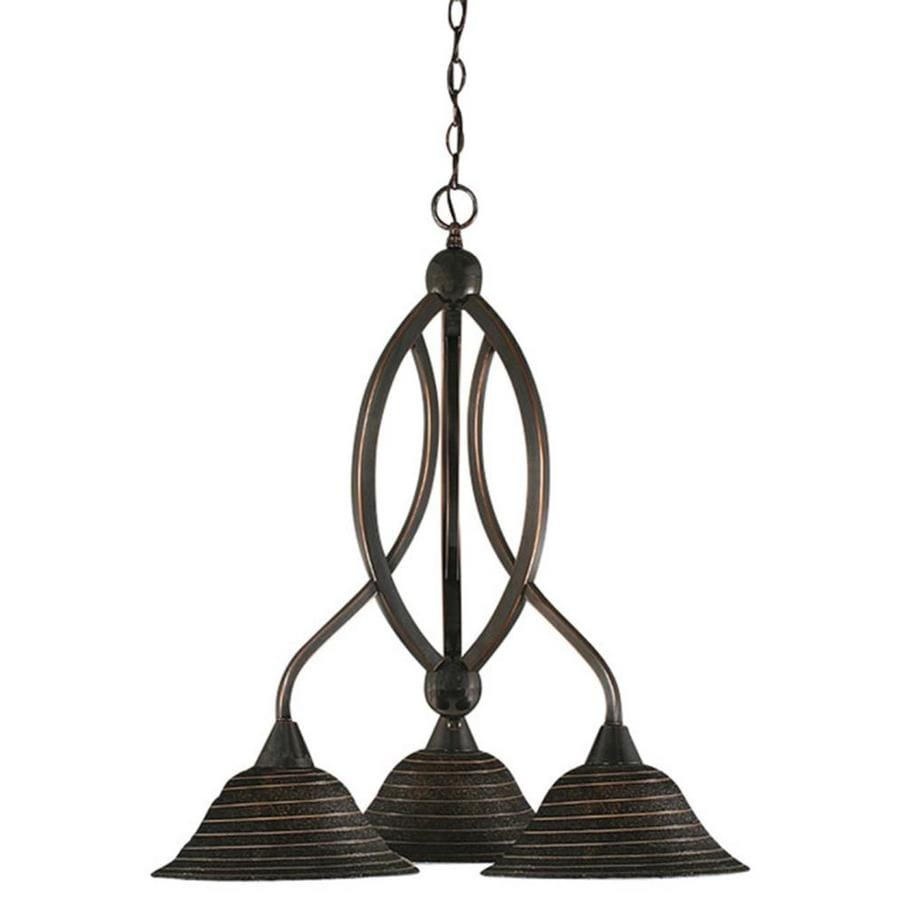 Divina 22.5-in 3-Light Black Copper Tinted Glass Candle Chandelier