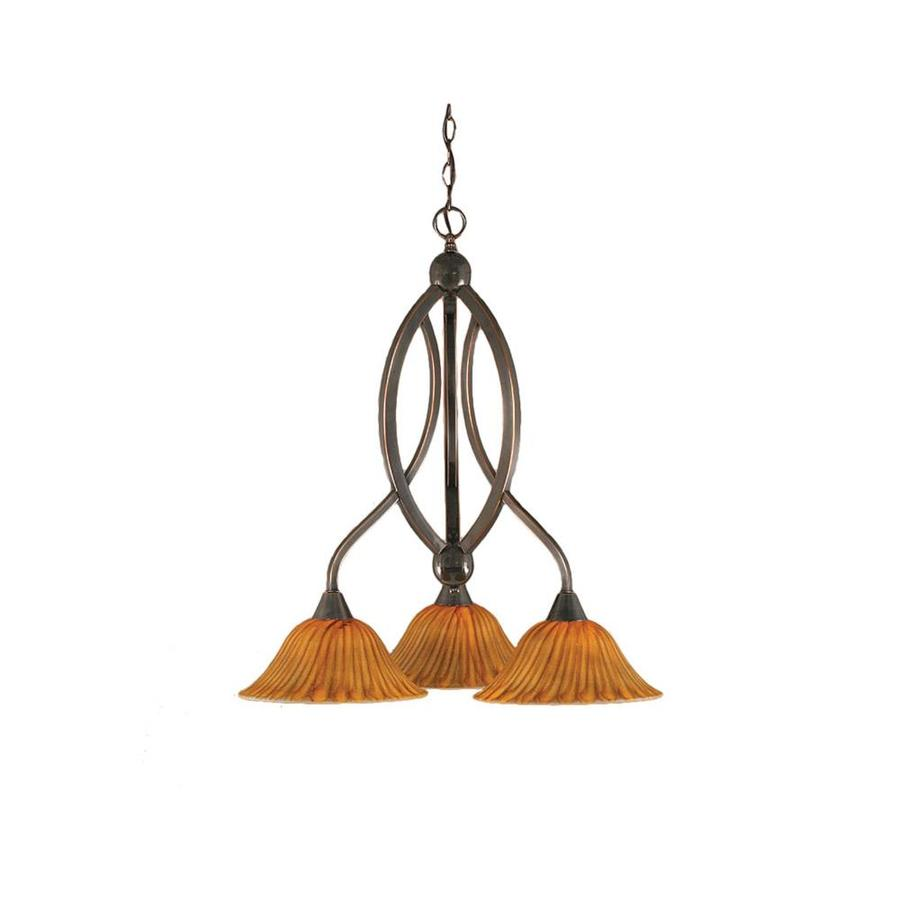 Divina 21.75-in 3-Light Black Copper Tinted Glass Candle Chandelier