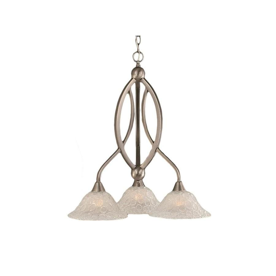 Divina 22.5-in 3-Light Brushed Nickel Tinted Glass Candle Chandelier