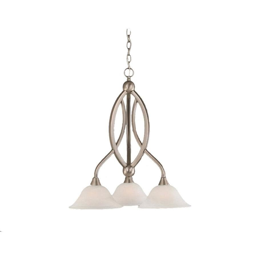 Divina 21.75-in 3-Light Brushed Nickel Alabaster Glass Candle Chandelier
