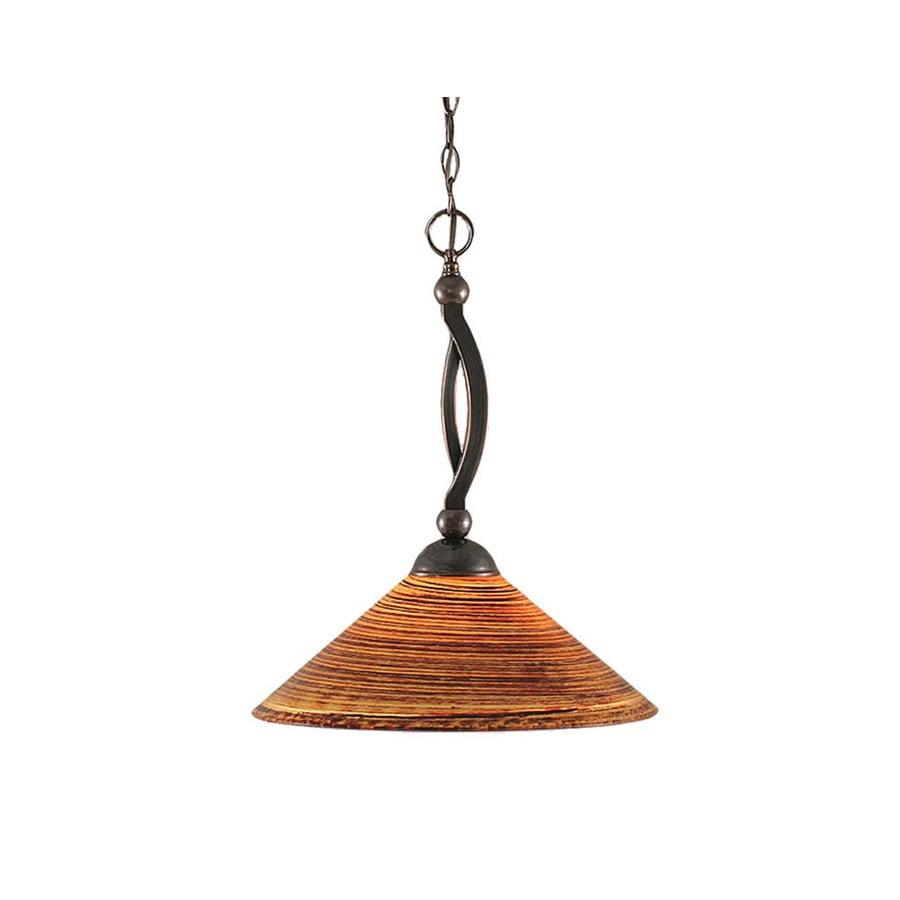 Divina 16-in Black Copper Single Marbleized Glass Bell Pendant