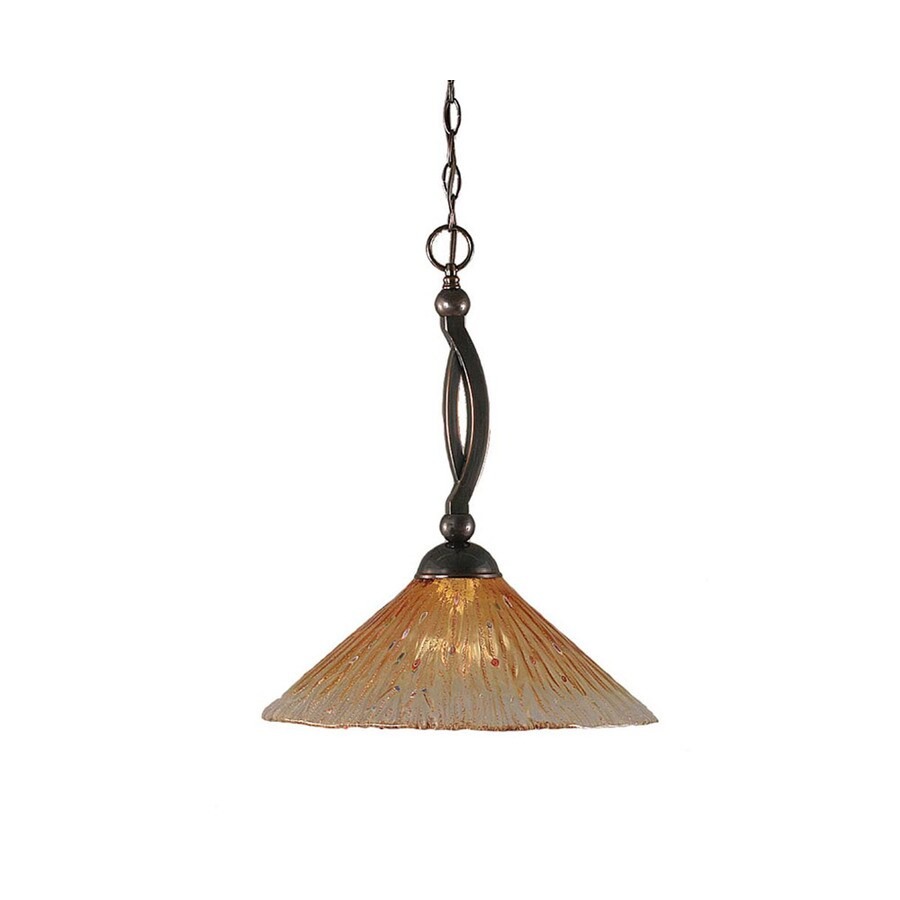 Divina 16-in Black Copper Single Marbleized Glass Bell Pendant