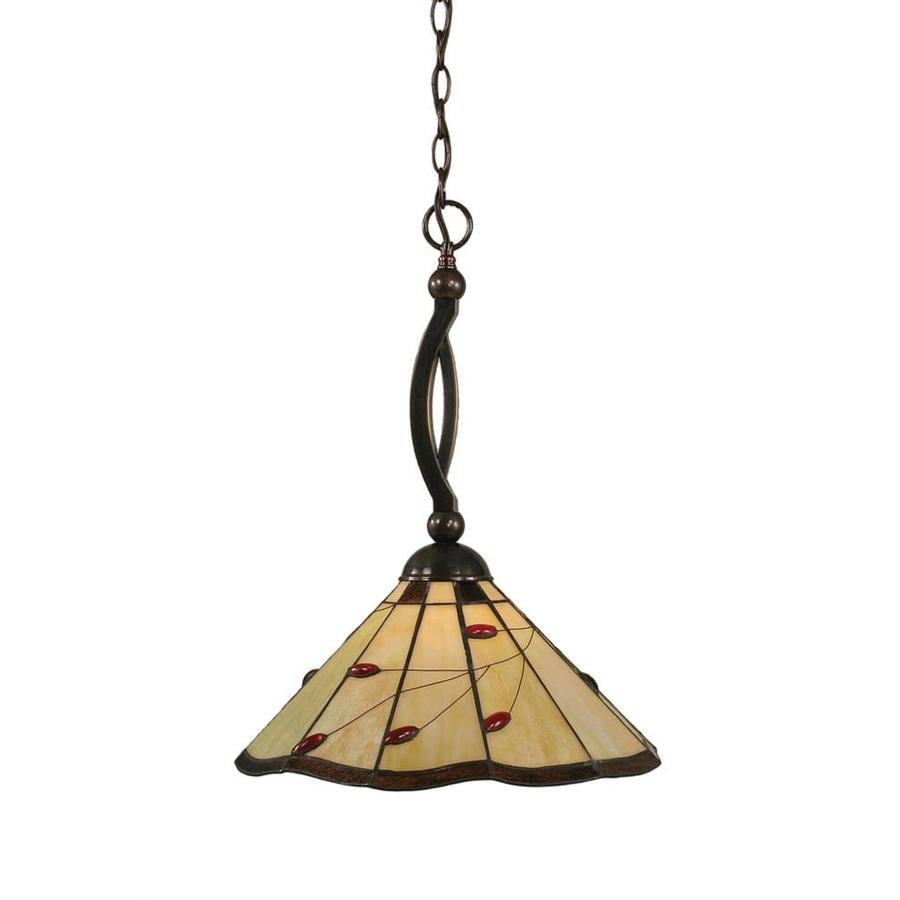 Divina 15.5-in Black Copper Single Stained Glass Bell Pendant