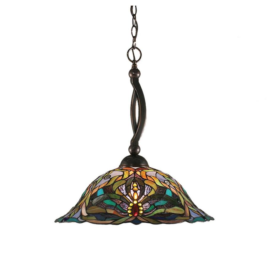 Divina 19-in Black Copper Single Stained Glass Bell Pendant