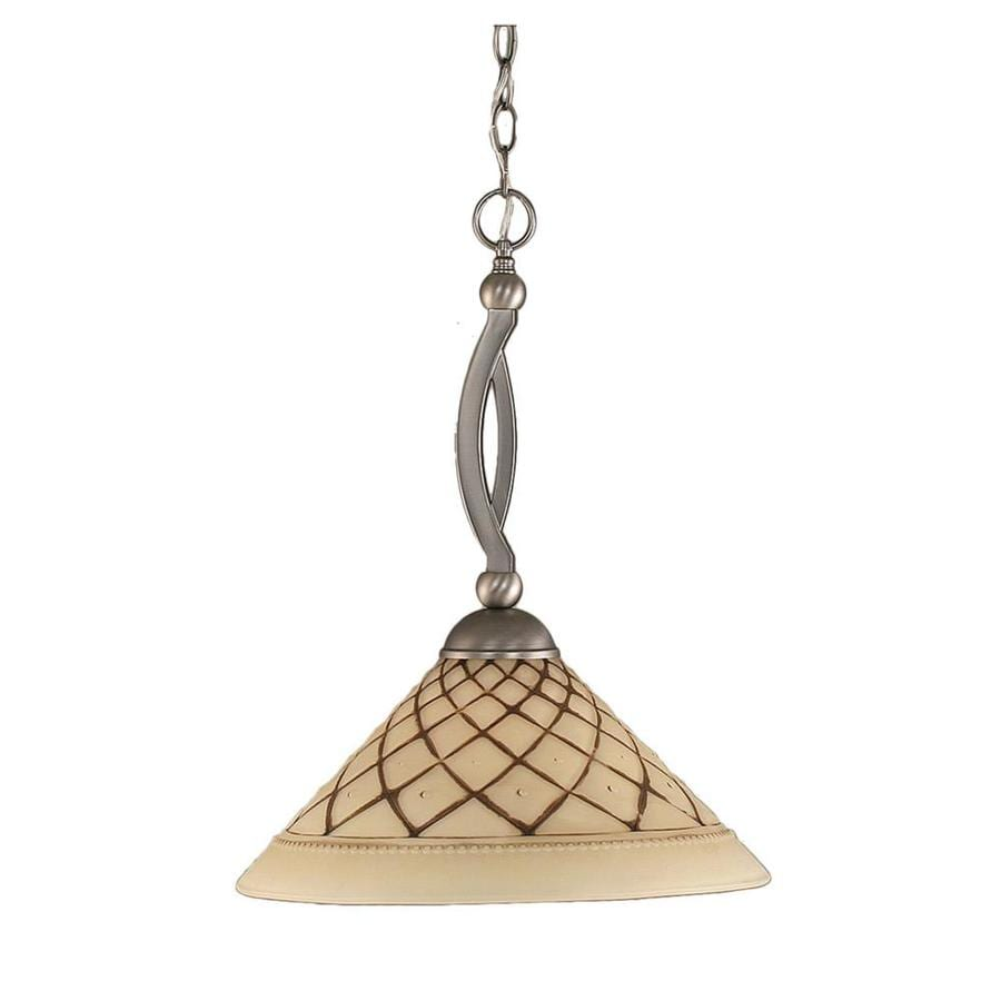 Divina 16-in Brushed Nickel Single Stained Glass Bell Pendant