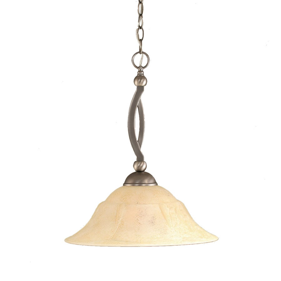 Divina 16-in Brushed Nickel Single Tinted Glass Bell Pendant
