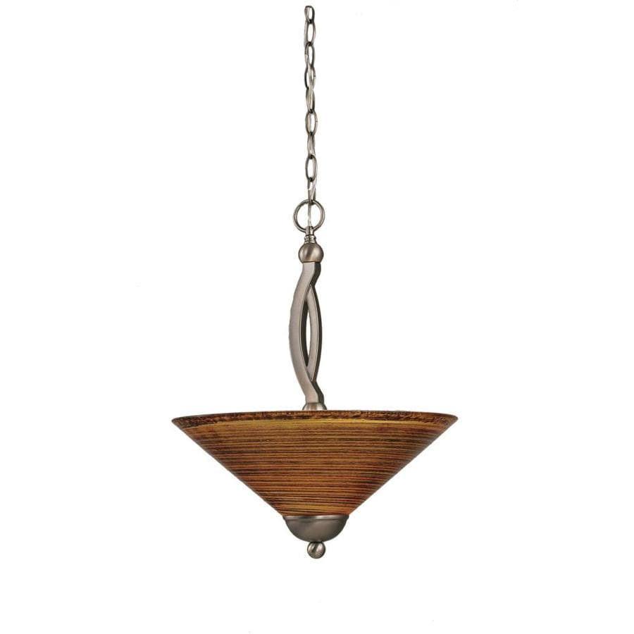 Divina 16-in Brushed Nickel Single Marbleized Glass Bell Pendant