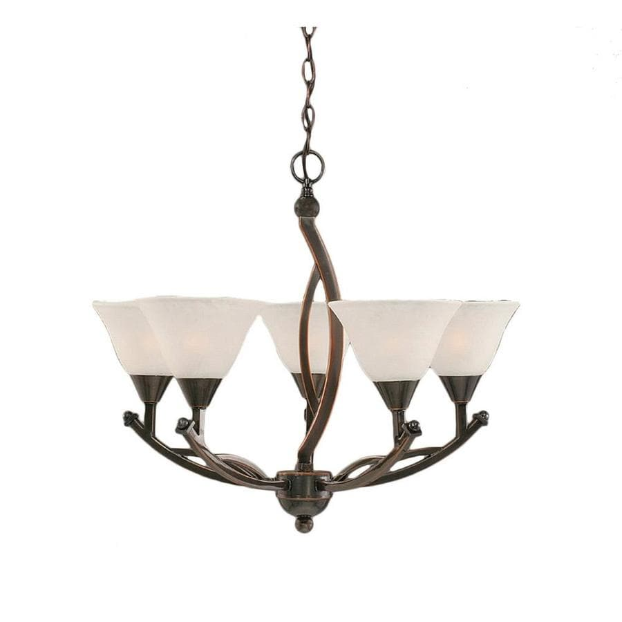 Divina 22.75-in 5-Light Black Copper Marbleized Glass Candle Chandelier