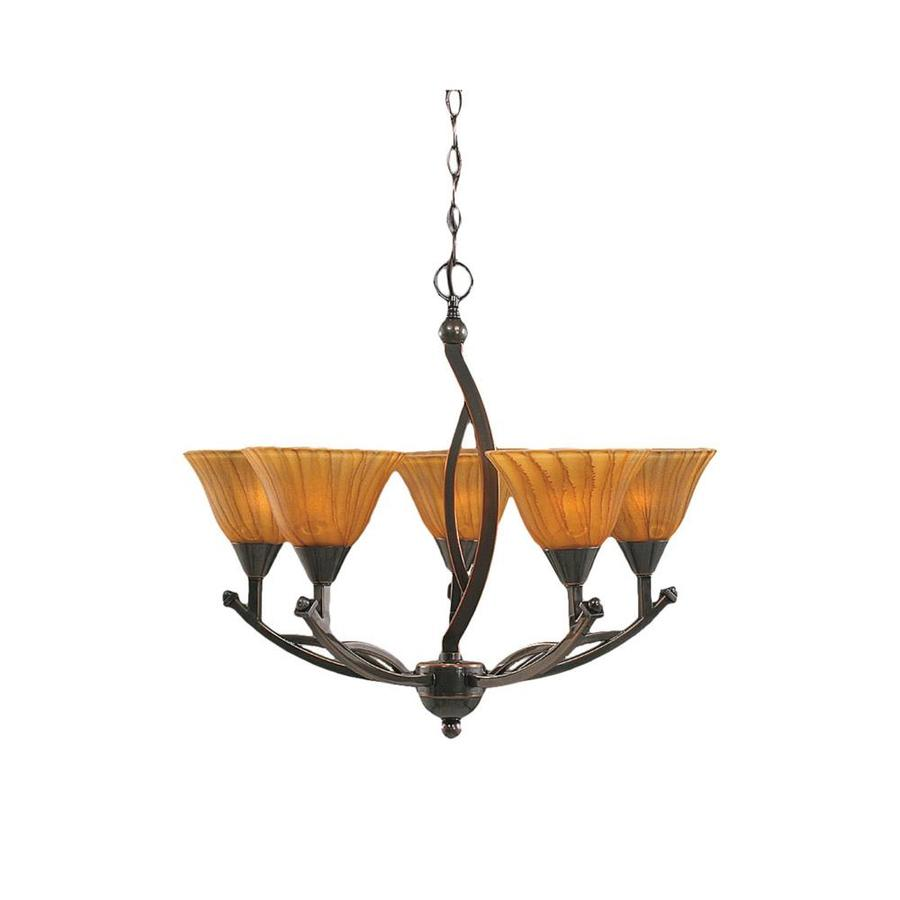 Divina 22.75-in 5-Light Black Copper Tinted Glass Candle Chandelier