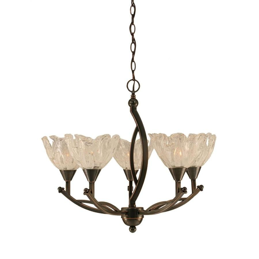 Divina 24-in 5-Light Black Copper Tinted Glass Candle Chandelier