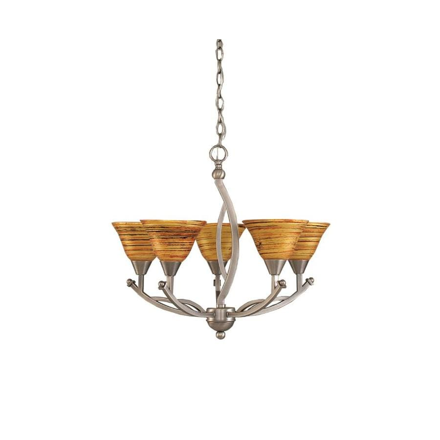 Divina 22.75-in 5-Light Brushed Nickel Tinted Glass Candle Chandelier