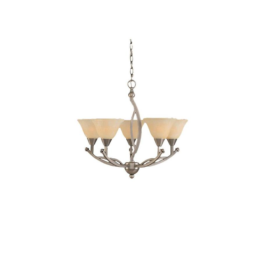 Divina 22.75-in 5-Light Brushed Nickel Marbleized Glass Candle Chandelier