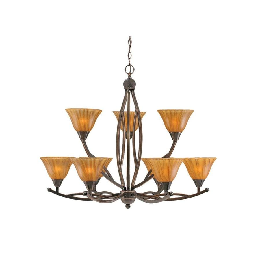 Divina 33-in 9-Light Black Copper Tinted Glass Tiered Chandelier
