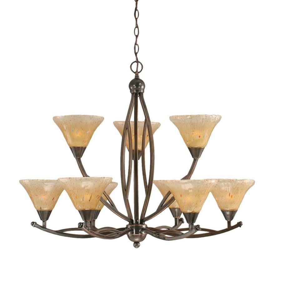 Divina 33.75-in 9-Light Black Copper Tinted Glass Tiered Chandelier