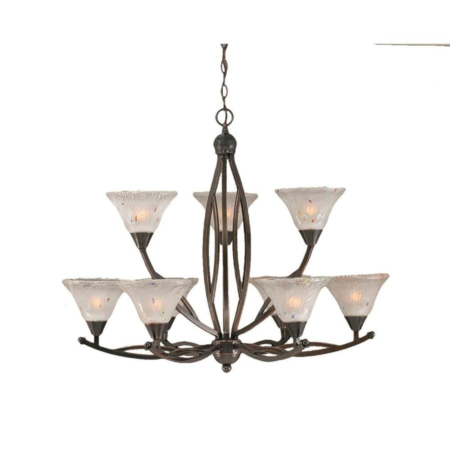 Divina 32.5-in 9-Light Black Copper Tinted Glass Tiered Chandelier
