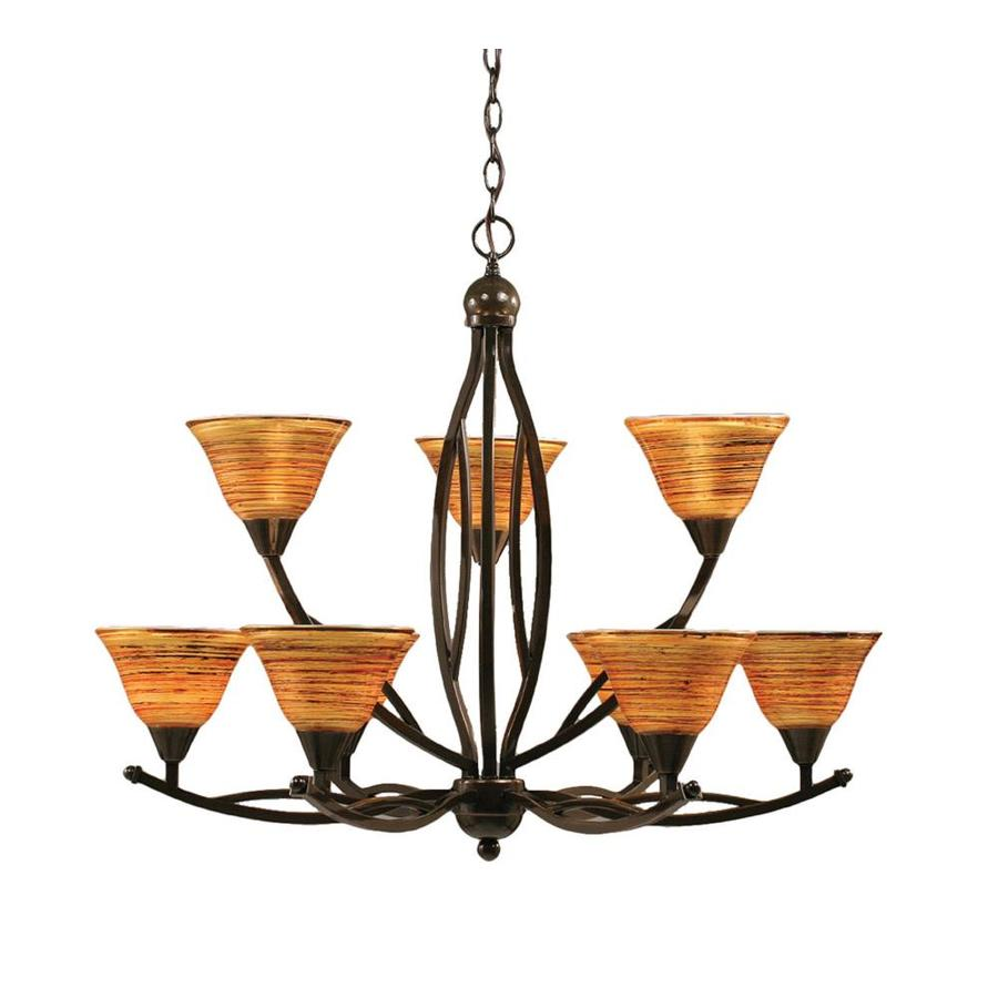 Divina 32-in 9-Light Onyx Tinted Glass Tiered Chandelier