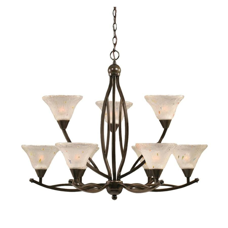 Divina 33.75-in 9-Light Onyx Tinted Glass Tiered Chandelier