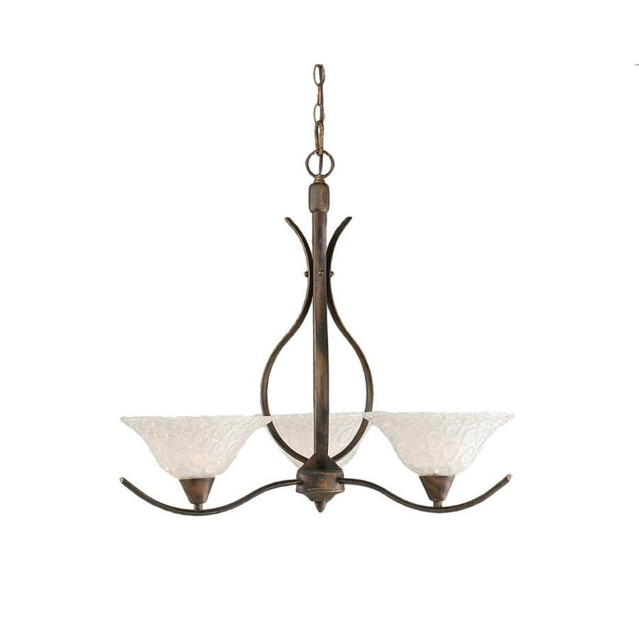 Divina 24.75-in 3-Light Bronze Tinted Glass Candle Chandelier