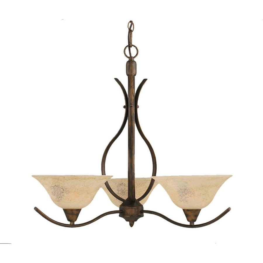 Divina 23.5-in 3-Light Bronze Marbleized Glass Candle Chandelier