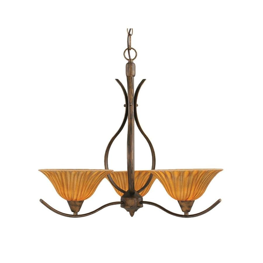Divina 23.5-in 3-Light Bronze Tinted Glass Candle Chandelier