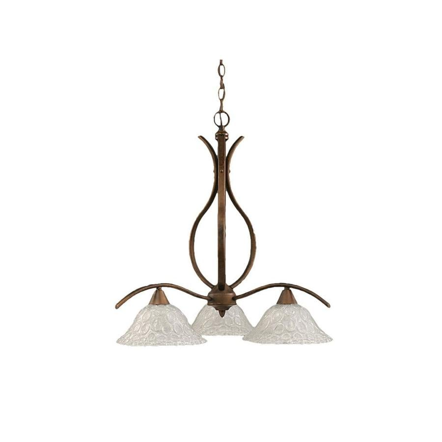Divina 21.75-in 3-Light Bronze Tinted Glass Candle Chandelier