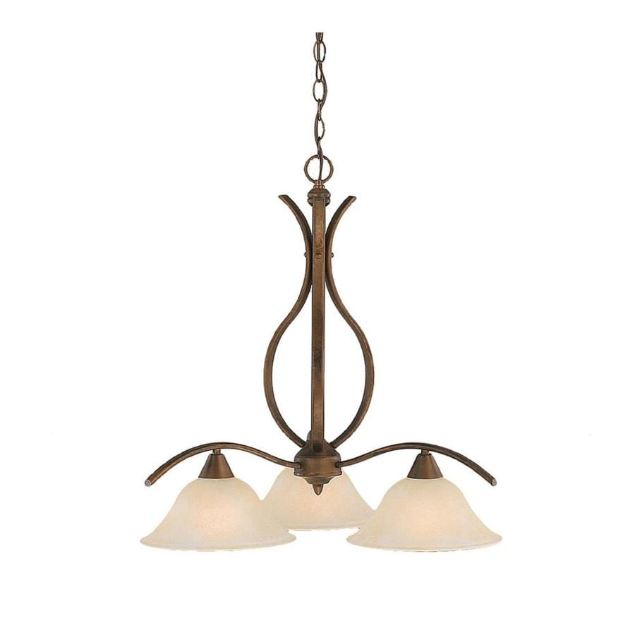 Divina 22.5-in 3-Light Bronze Marbleized Glass Candle Chandelier