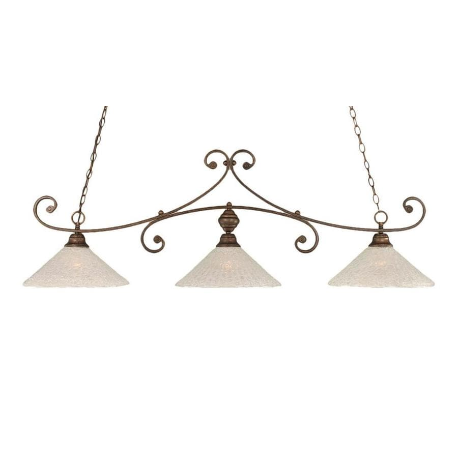 Divina 16-in W 3-Light Bronze Standard Kitchen Island Light with Frosted Shade