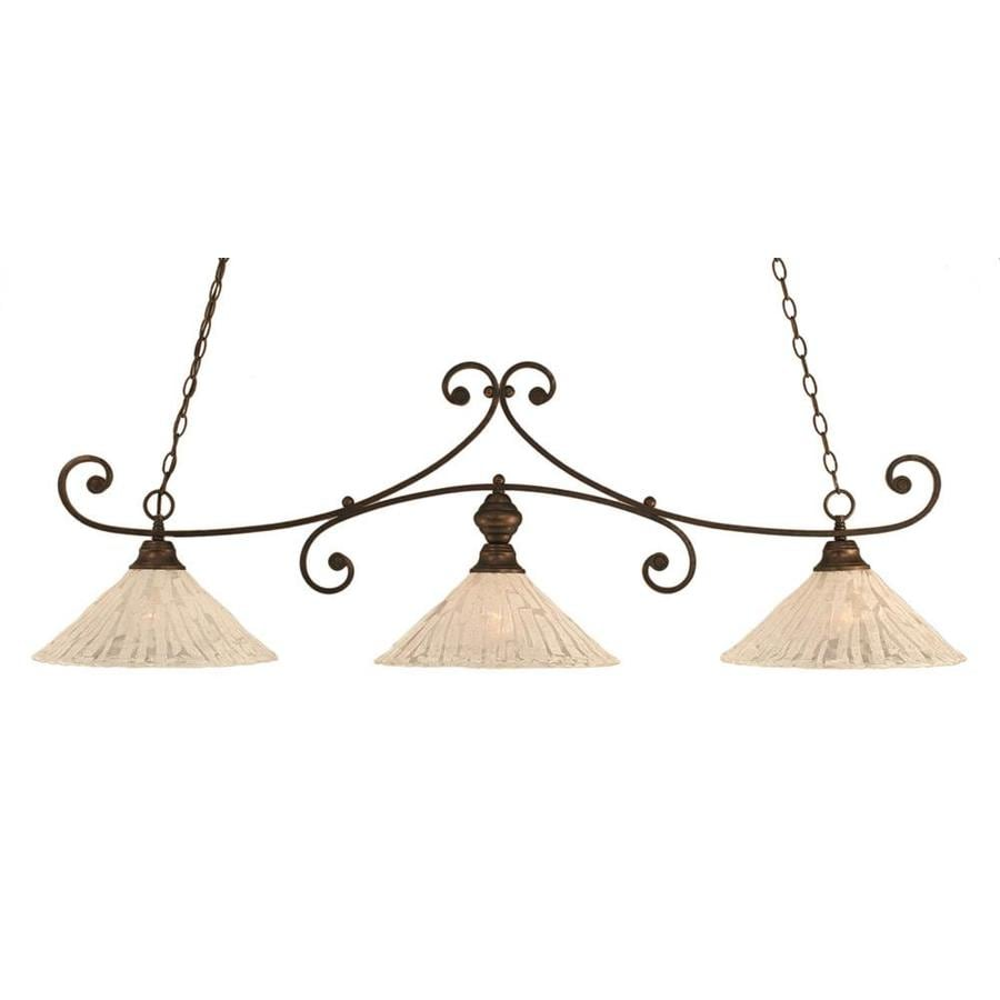 Divina 16-in W 3-Light Bronze Standard Kitchen Island Light with Tiffany-Style Shade