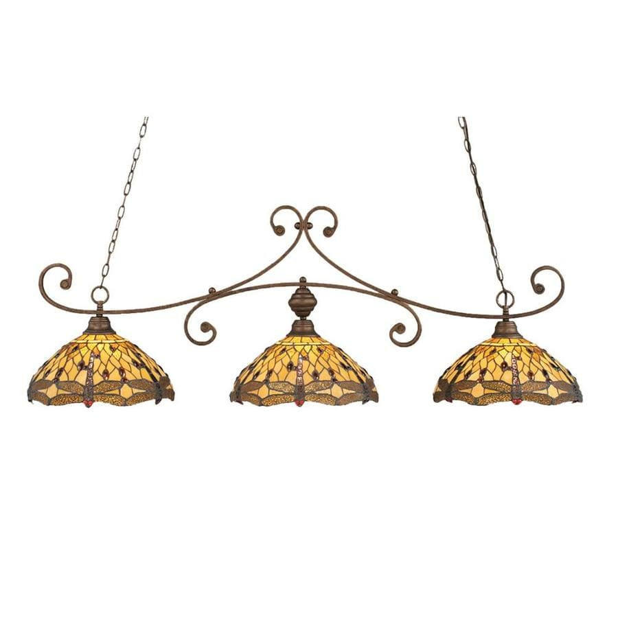 Divina 16.25-in W 3-Light Bronze Kitchen Island Light with Tiffany-Style Shade