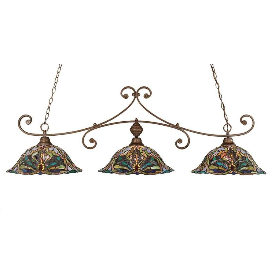 Shop Divina 19-in W 3-Light Bronze Kitchen Island Light with Tiffany ...