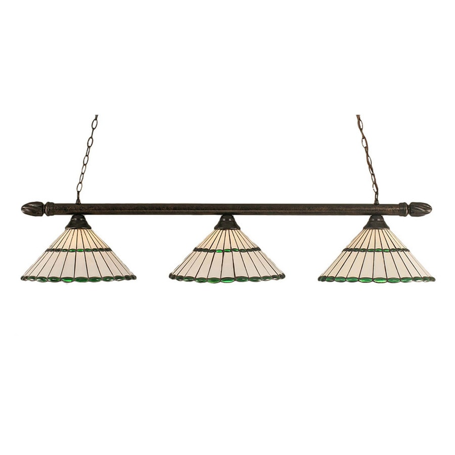 Divina 15.5-in W 3-Light Bronze Kitchen Island Light with Tiffany-Style Shade