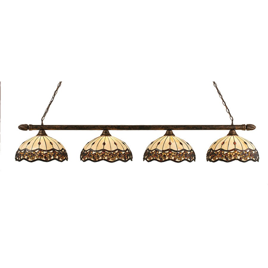 Divina 16.25-in W 4-Light Bronze Kitchen Island Light with Tiffany-Style Shade