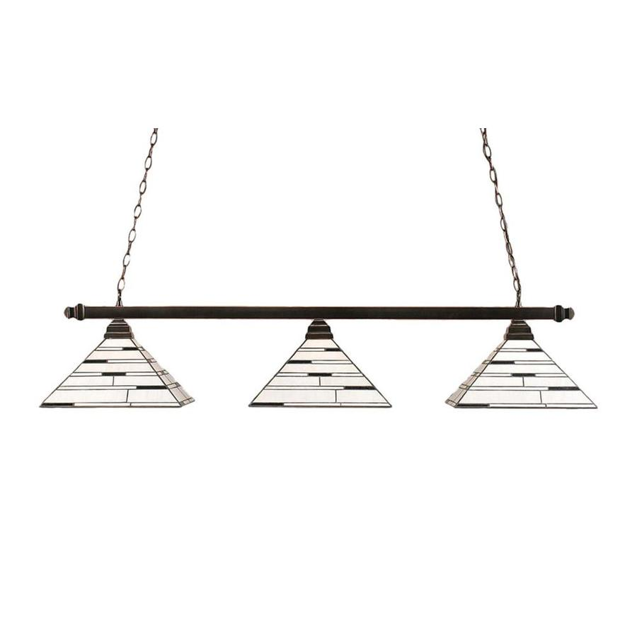 Divina 14-in W 3-Light Black Copper Kitchen Island Light with Tiffany-Style Shade