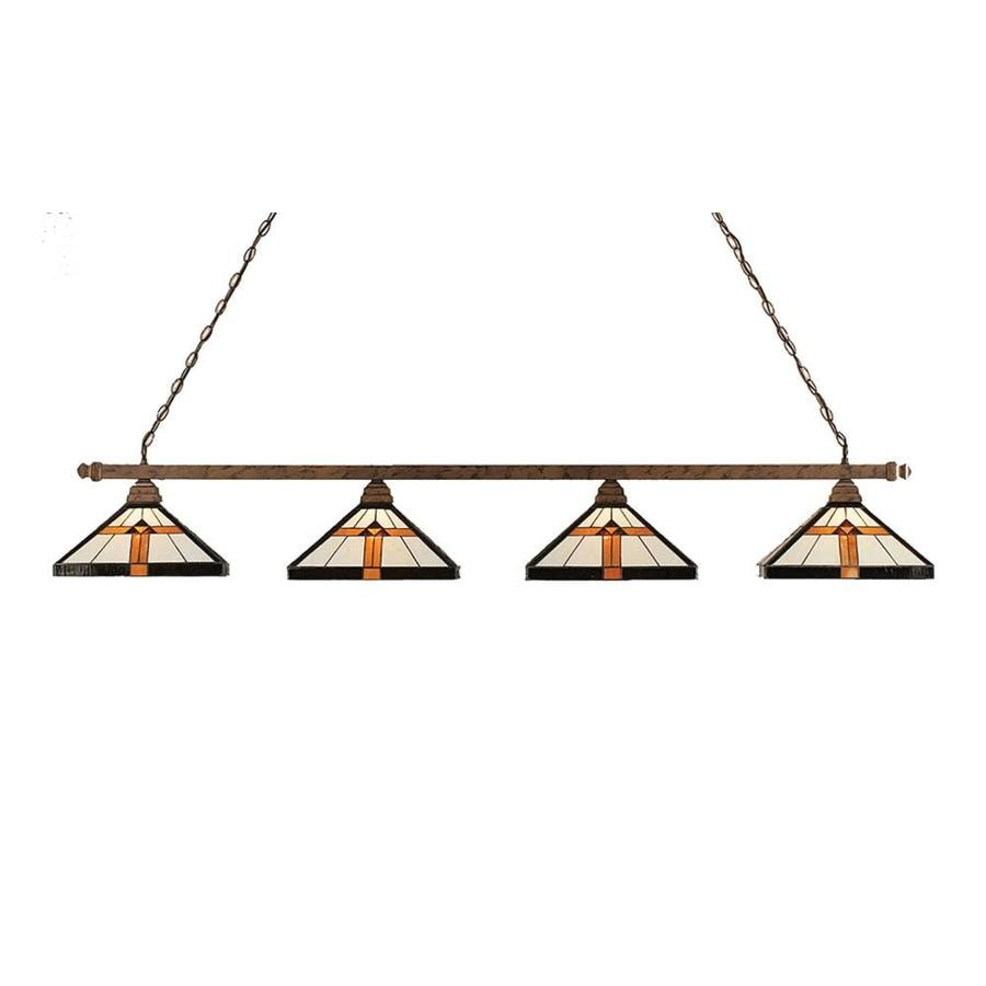 Divina 14.25-in W 4-Light Bronze Kitchen Island Light with Tiffany-Style Shade
