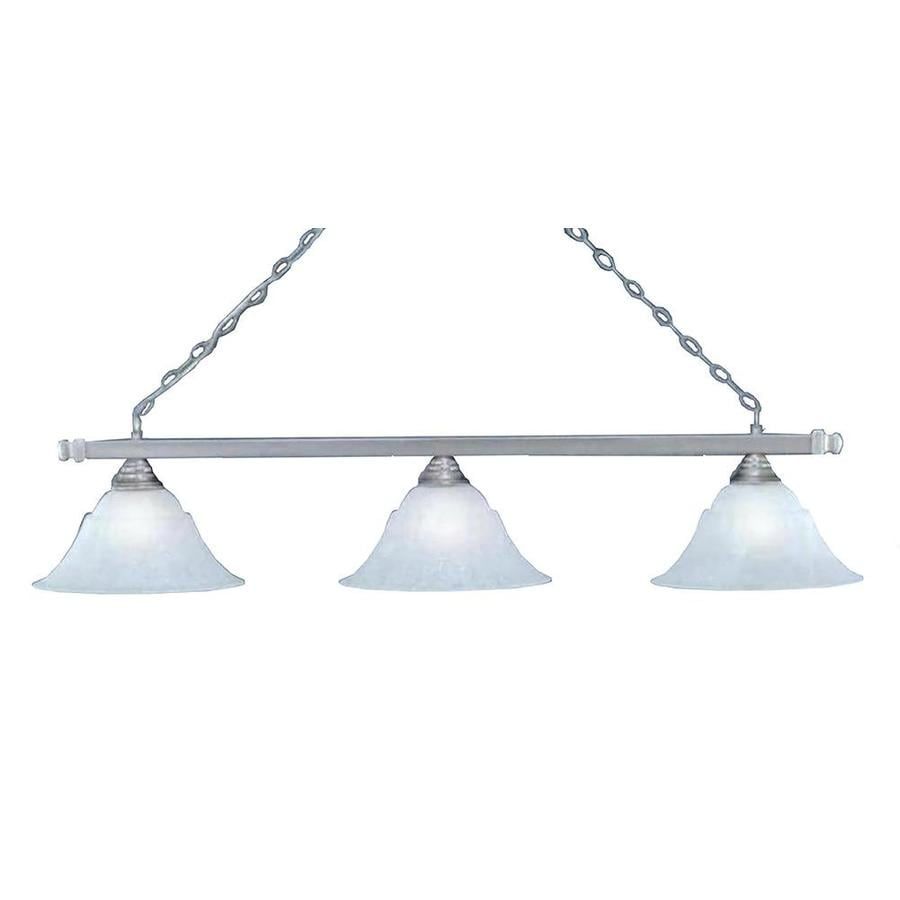 Divina 14-in W 3-Light Brushed Nickel Kitchen Island Light with Frosted Shade