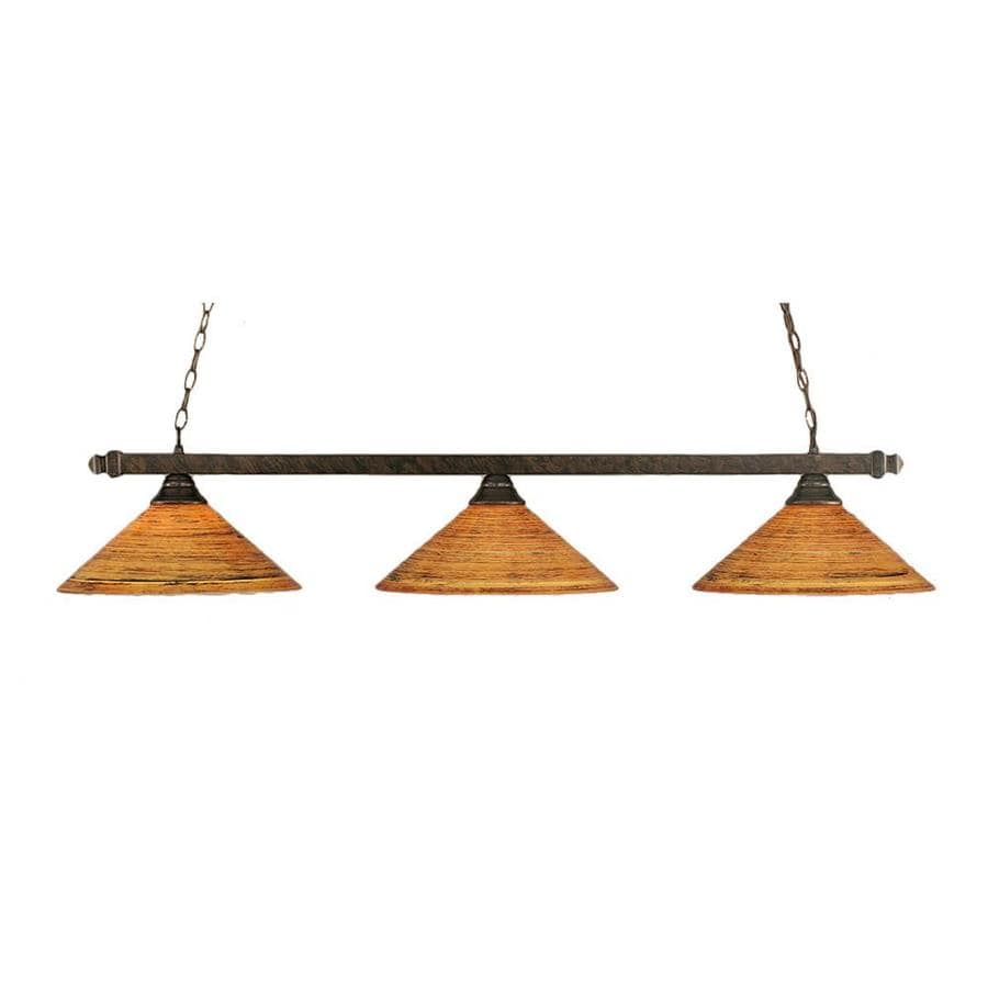 Divina 16-in W 3-Light Bronze Kitchen Island Light with Textured Shade