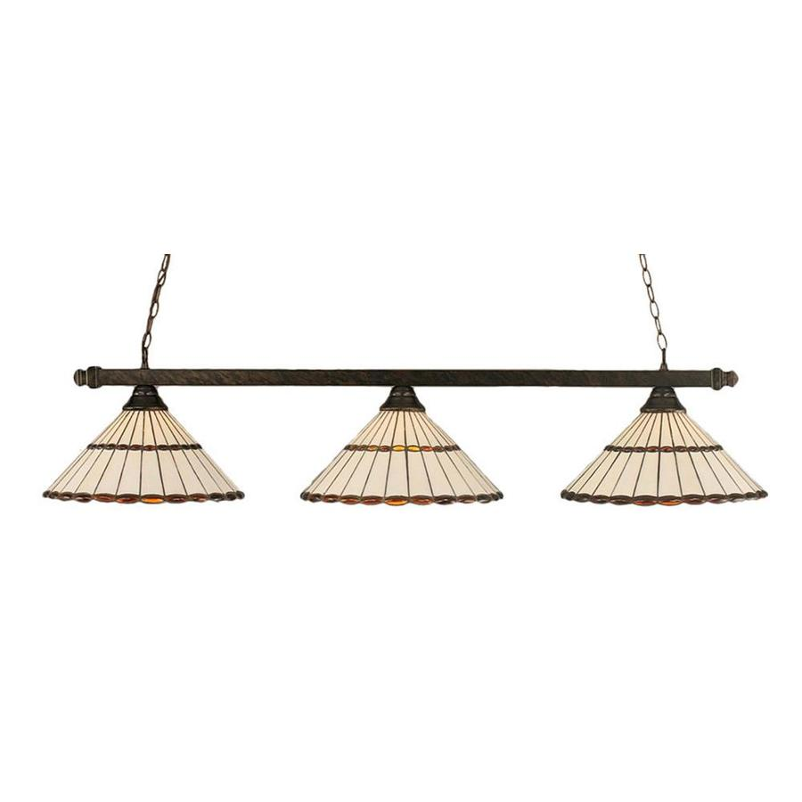 Divina 15.75-in W 3-Light Bronze Standard Kitchen Island Light with Tiffany-Style Shade