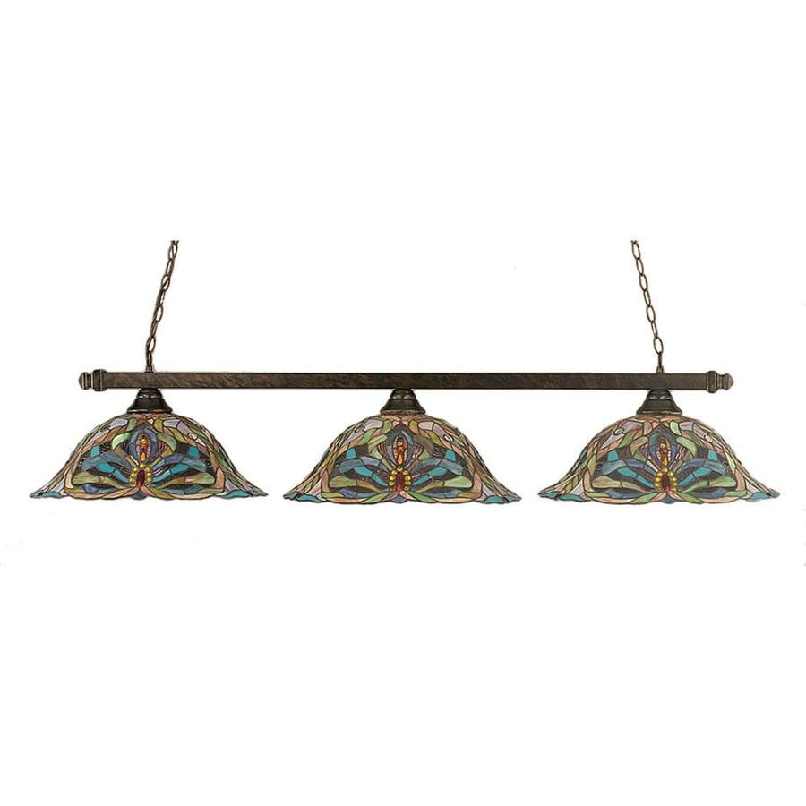 Divina 18-in W 3-Light Bronze Kitchen Island Light with Tiffany-Style Shade