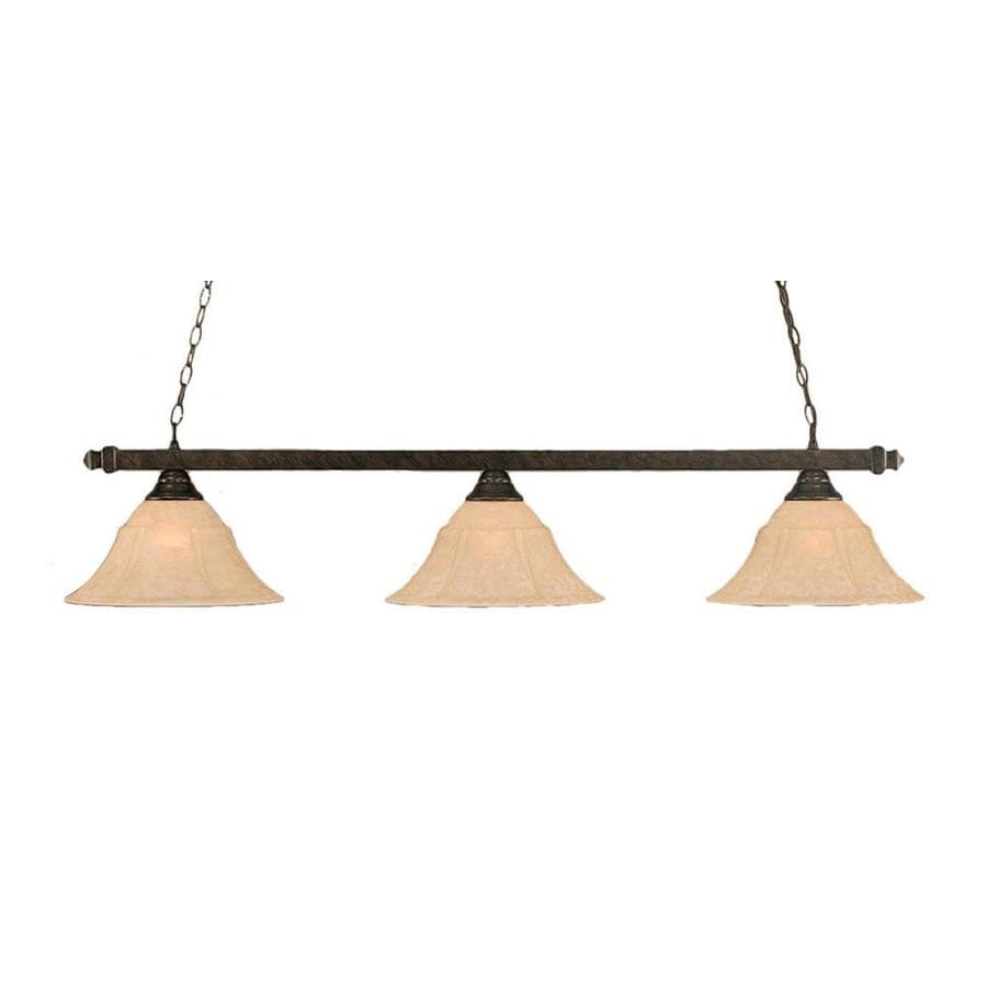 Divina 14-in W 3-Light Bronze Standard Kitchen Island Light with Tinted Shade
