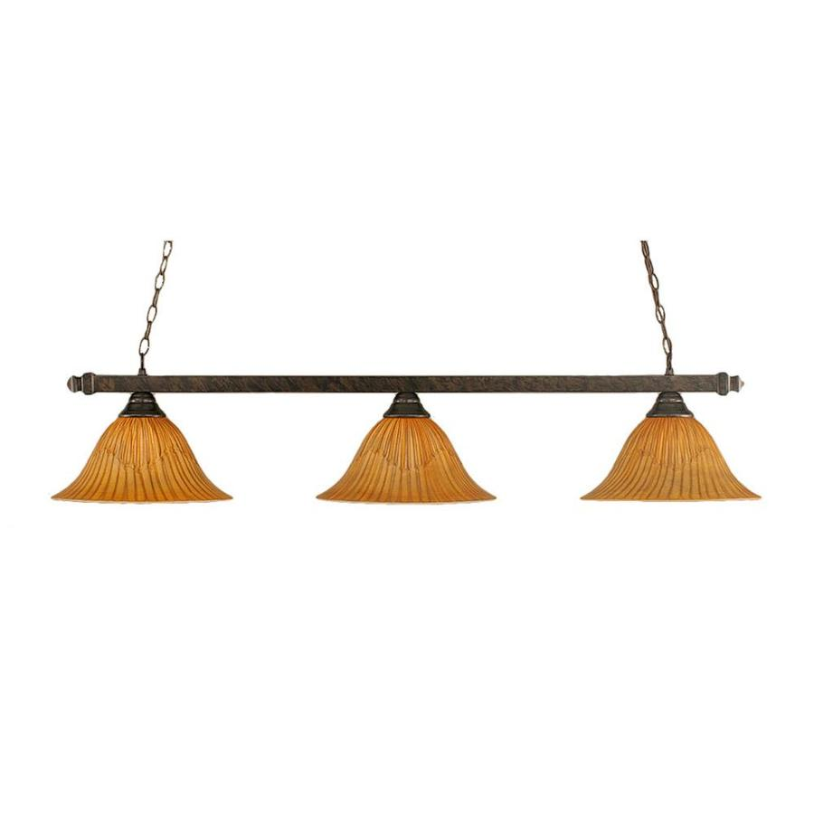 Divina 14-in W 3-Light Bronze Kitchen Island Light with Textured Shade