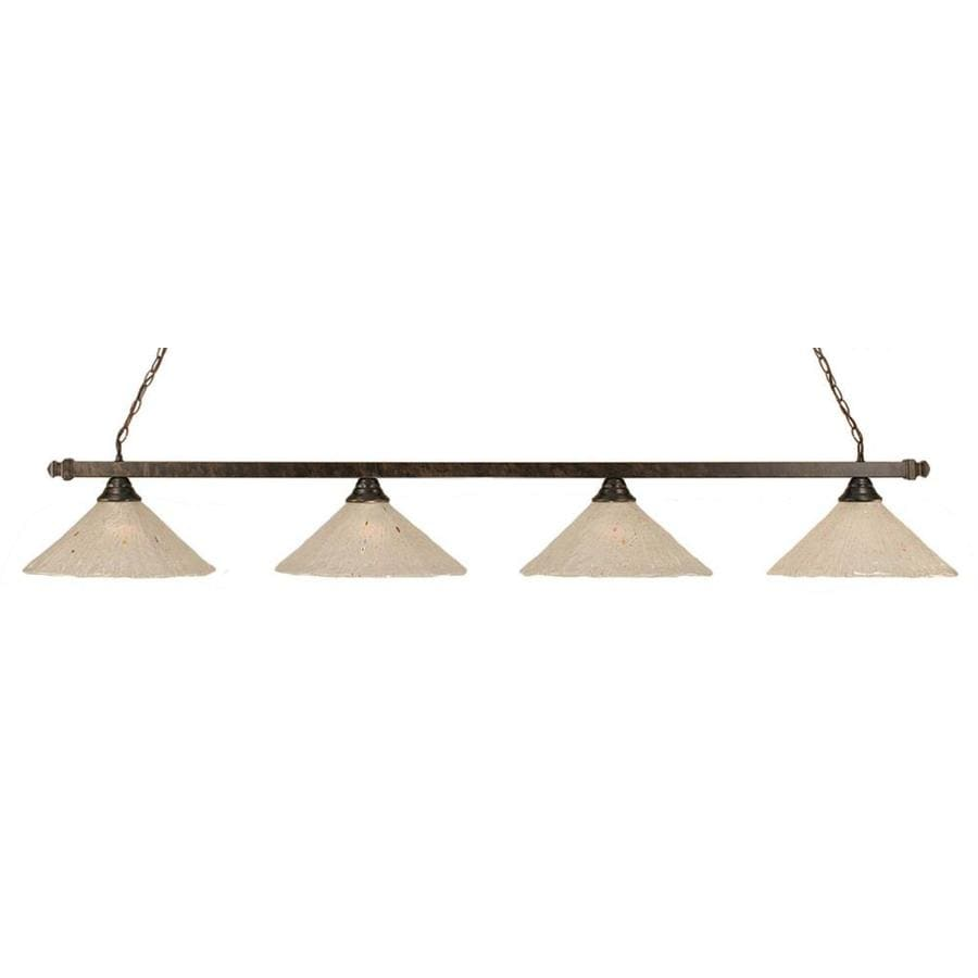 Divina 16-in W 4-Light Bronze Kitchen Island Light with Frosted Shade