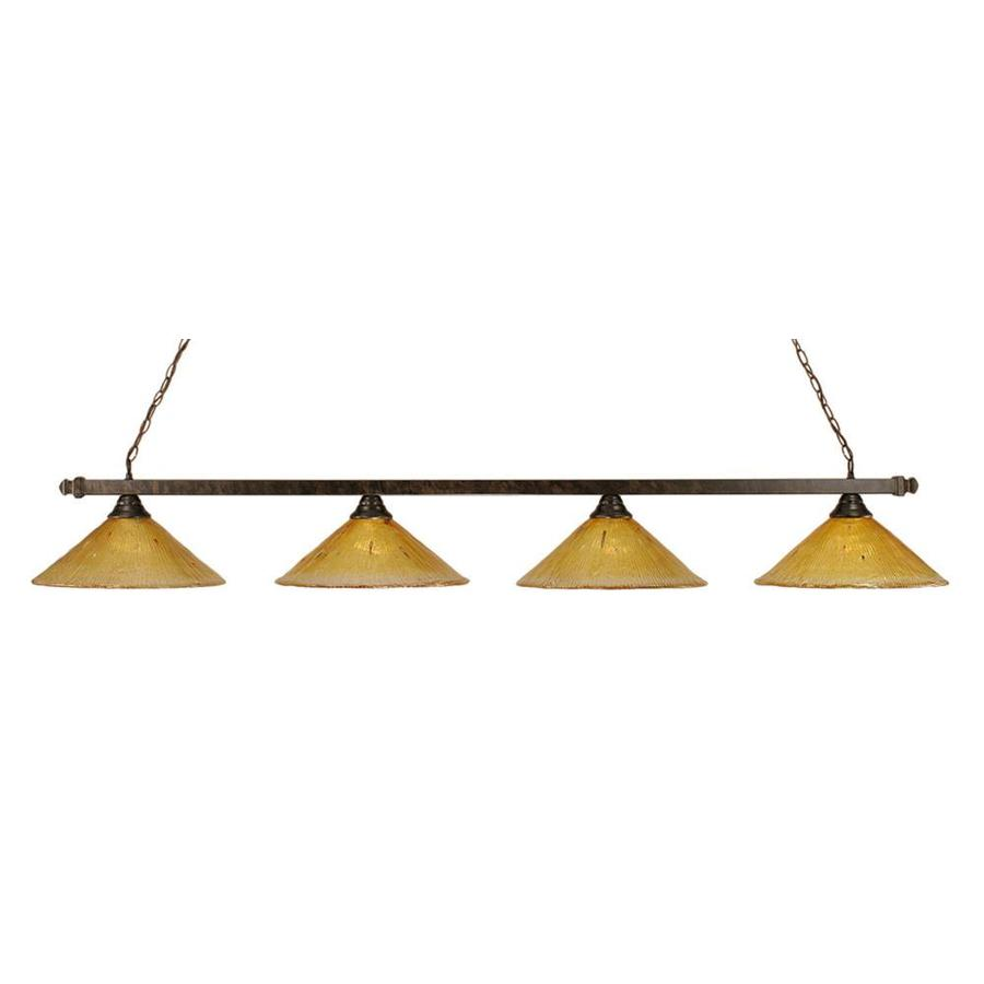 Divina 16-in W 4-Light Bronze Kitchen Island Light with Textured Shade