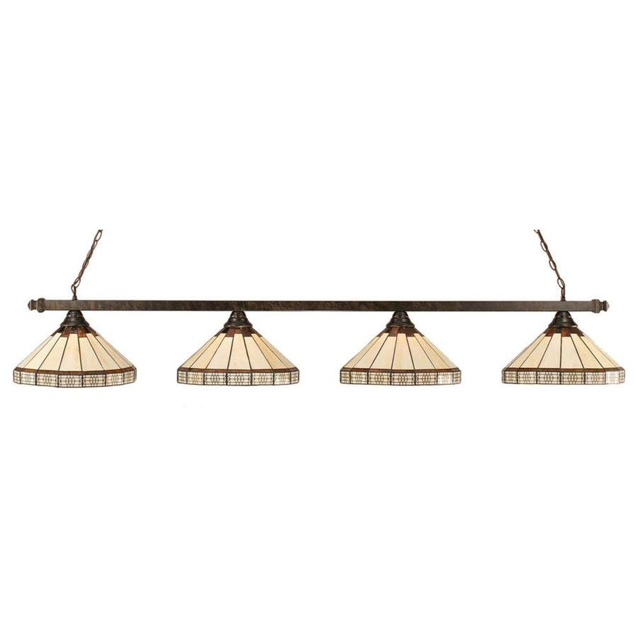 Divina 14-in W 4-Light Bronze Kitchen Island Light with Tiffany-Style Shade