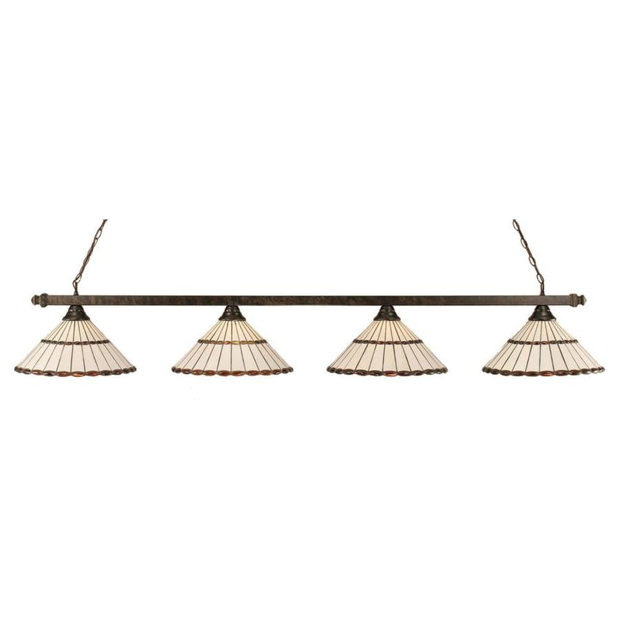 Divina 16-in W 4-Light Bronze Standard Kitchen Island Light with Tiffany-Style Shade