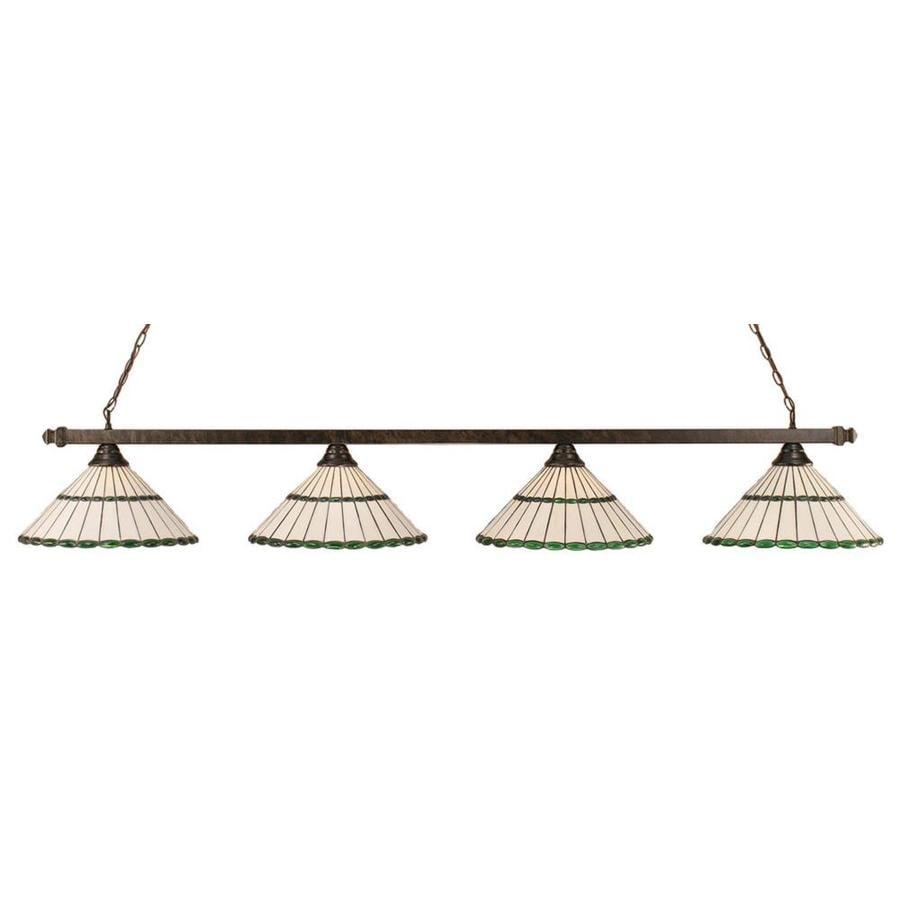 Divina 16-in W 4-Light Bronze Kitchen Island Light with Tiffany-Style Shade