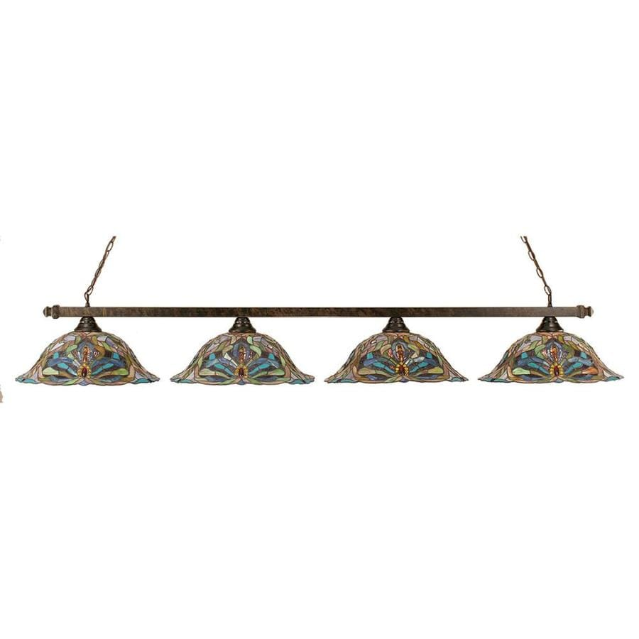 Divina 18.25-in W 4-Light Bronze Kitchen Island Light with Tiffany-Style Shade