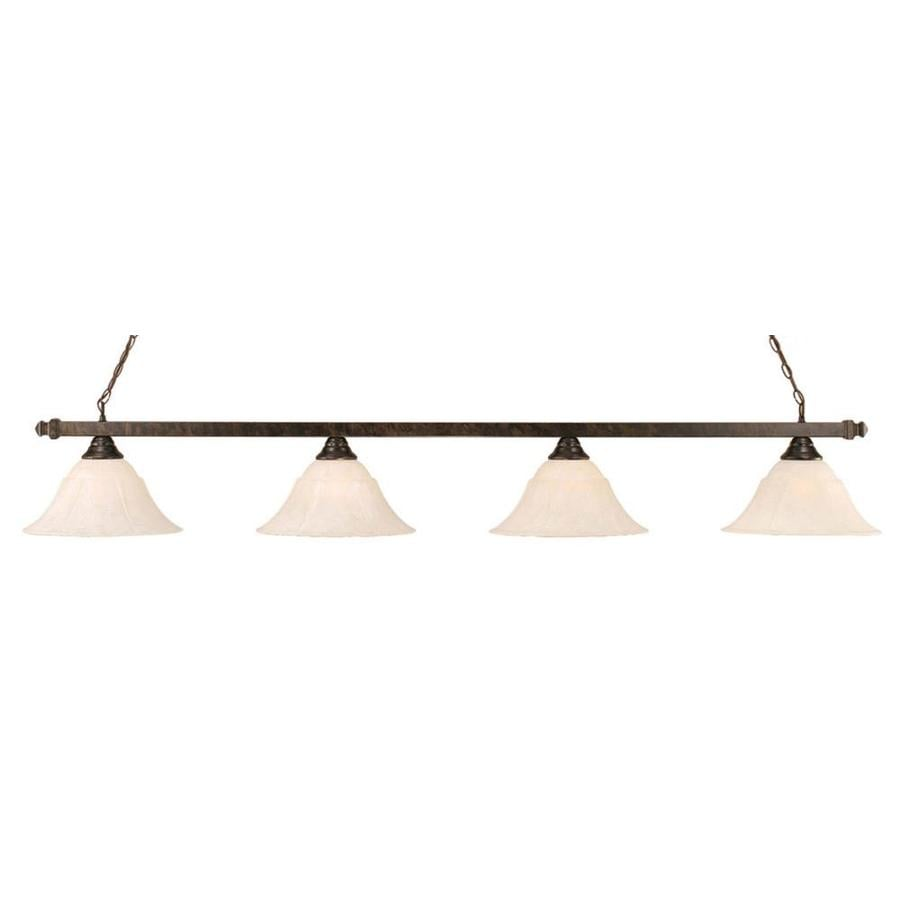 Divina 14-in W 4-Light Bronze Kitchen Island Light with Frosted Shade