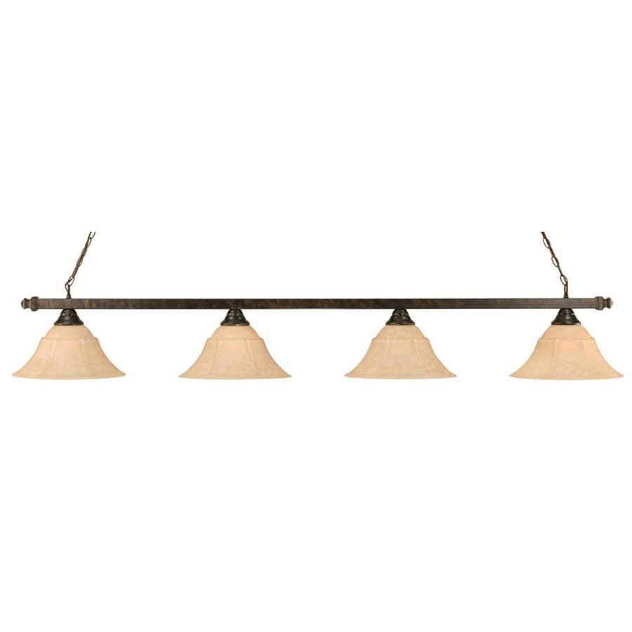 Divina 14-in W 4-Light Bronze Kitchen Island Light with Tinted Shade
