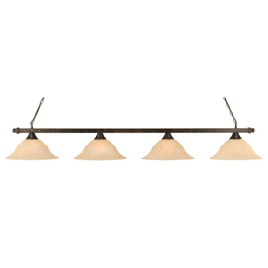 Divina 16-in W 4-Light Bronze Kitchen Island Light with Tinted Shade